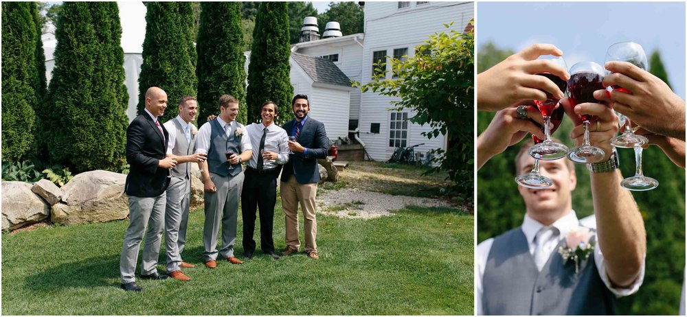 Sunny New Hampshire Summer Wedding at Mile Away Restaurant Milford - fraternity frat brothers
