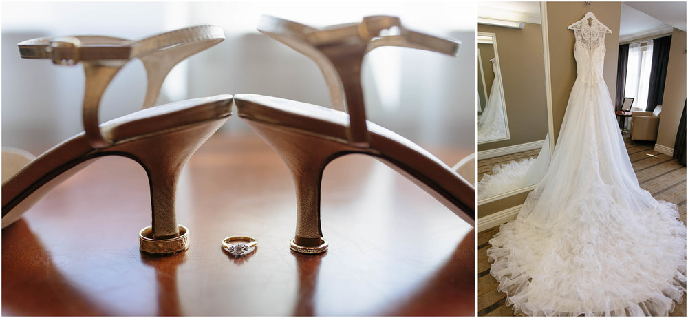Chic New Hampshire Wedding at Manchester Country Club Bedford - dress, gown, shoes, and rings