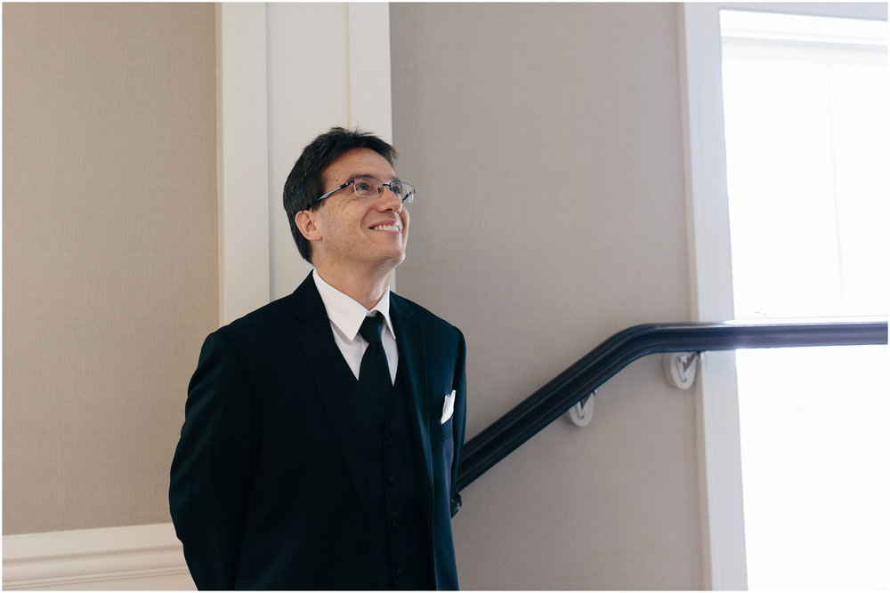 Chic New Hampshire Wedding at Manchester Country Club Bedford - father of the bride smiling