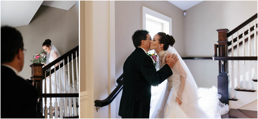 Chic New Hampshire Wedding at Manchester Country Club Bedford - bride and father