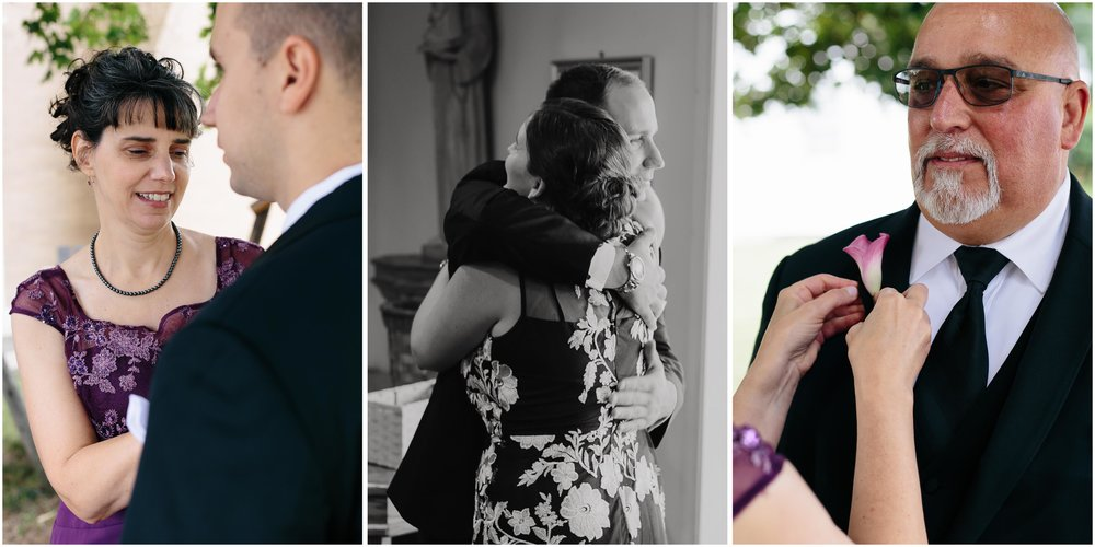 Chic New Hampshire Wedding at Manchester Country Club Bedford - groom, mother, father, hug
