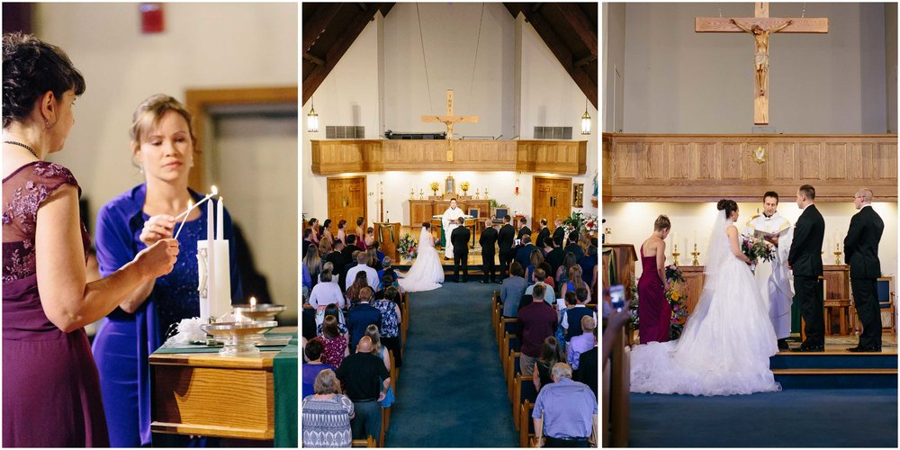 Chic New Hampshire Wedding at Manchester Country Club Bedford - mothers with unity candle and Immaculate Heart of Mary church