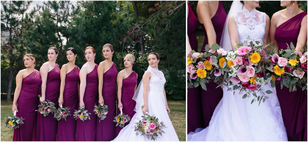 Chic New Hampshire Wedding at Manchester Country Club Bedford - bridesmaids and bouquets