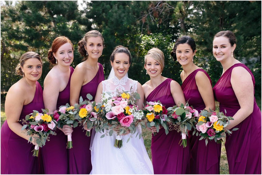Chic New Hampshire Wedding at Manchester Country Club Bedford - bridesmaids