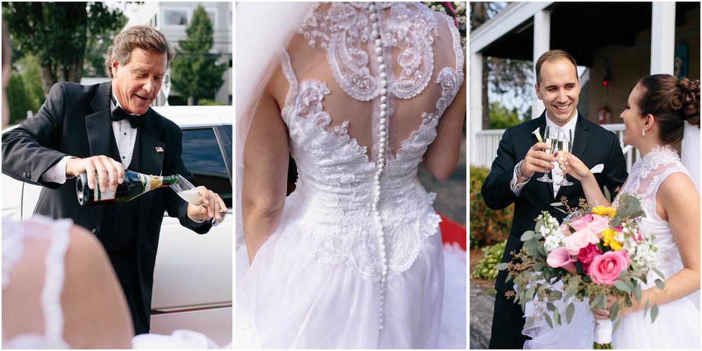 Chic New Hampshire Wedding at Manchester Country Club Bedford - brides and groom with champagne and Grace Limousine, dress details