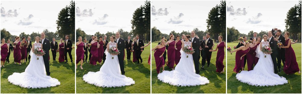 Chic New Hampshire Wedding at Manchester Country Club Bedford - bride and groom and running wedding party
