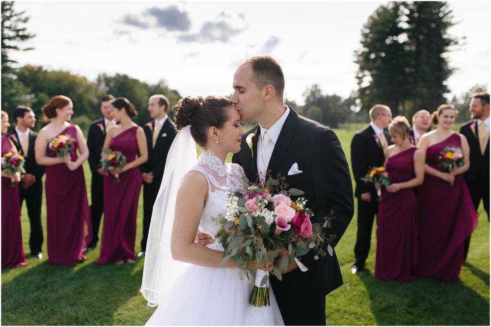 Chic New Hampshire Wedding at Manchester Country Club Bedford - bride and groom and wedding party