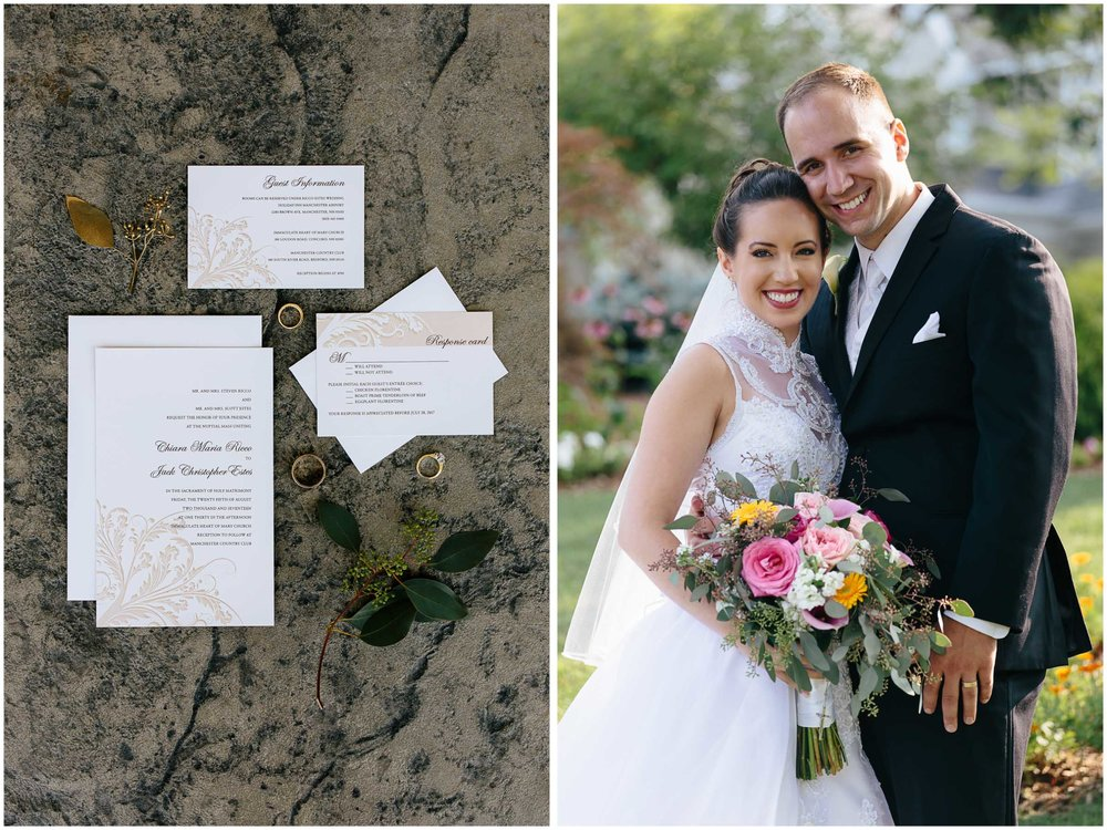 Chic New Hampshire Wedding at Manchester Country Club Bedford - bride and groom, magnet street invitations
