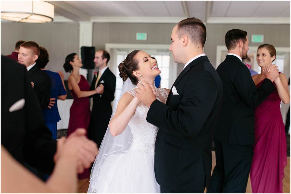 Chic New Hampshire Wedding at Manchester Country Club Bedford - dancing bride and groom