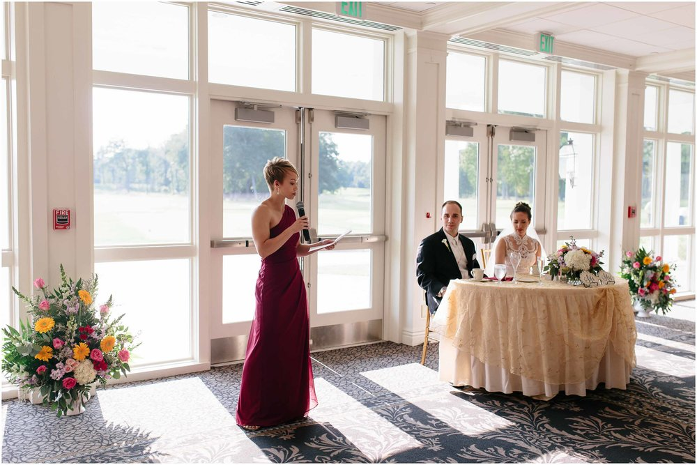 Chic New Hampshire Wedding at Manchester Country Club Bedford - maid/matron of honor toast