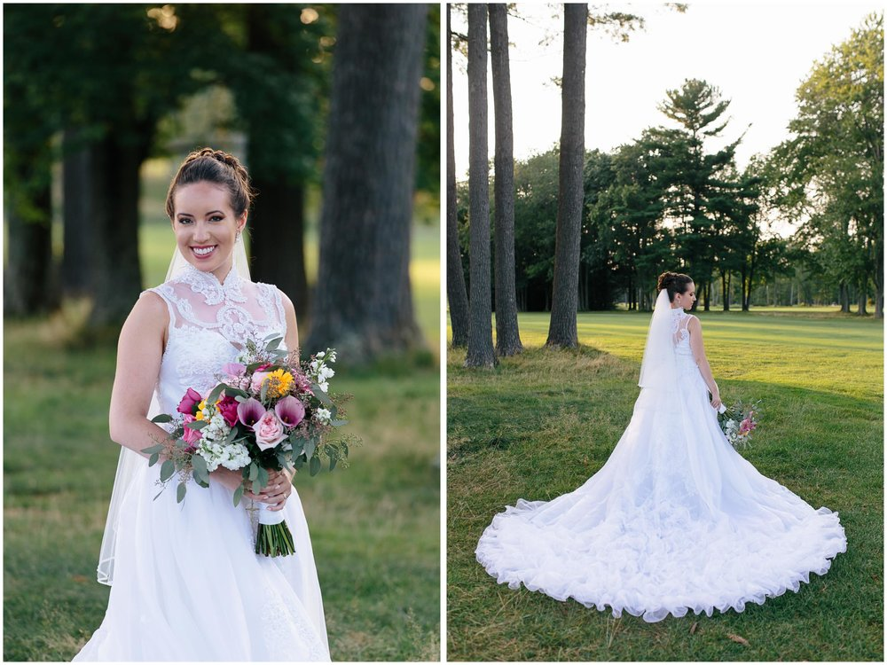 Chic New Hampshire Wedding at Manchester Country Club Bedford - bride and Chalifour's Flowers bouquet, cathedral train