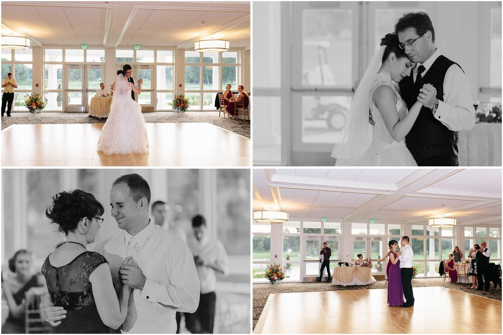 Chic New Hampshire Wedding at Manchester Country Club Bedford - dancing with father and mother