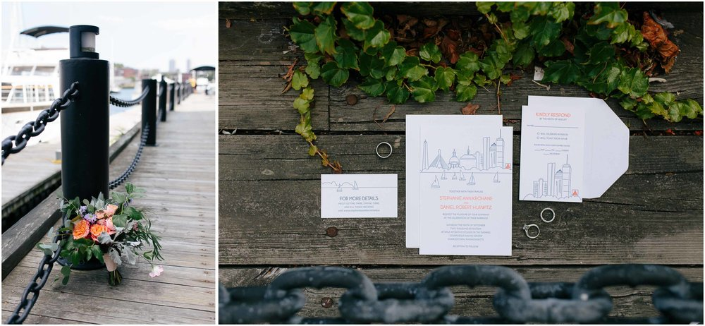 Nautical Massachusetts Jewish Wedding in the Boston Navy Yard bouquet, invitations, and rings