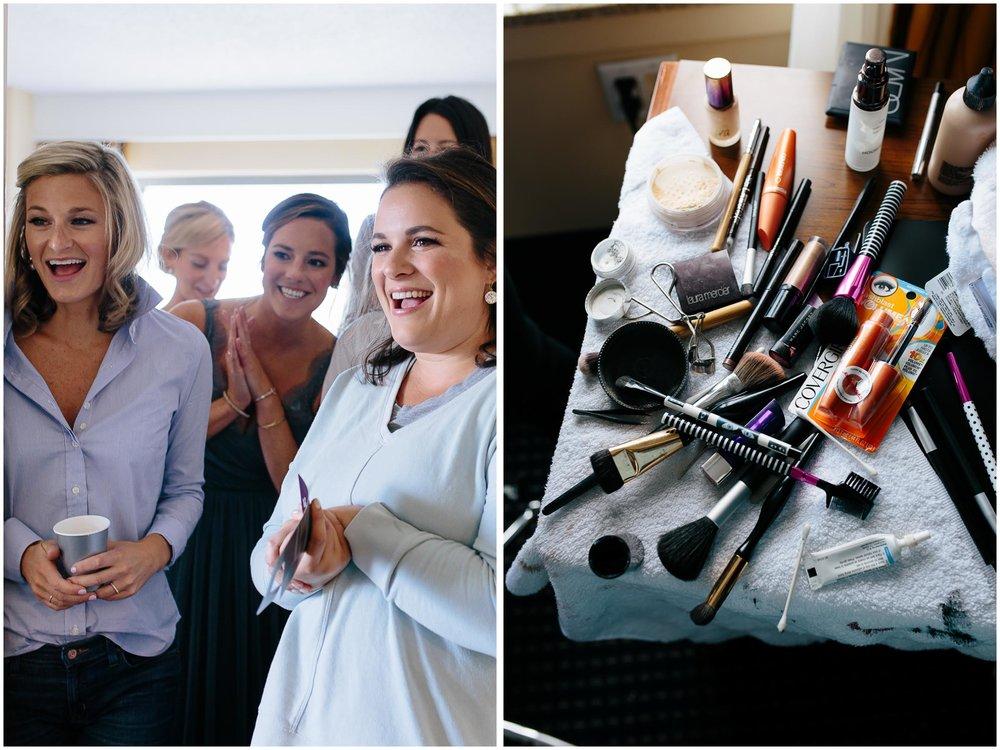 Nautical Massachusetts Jewish Wedding in the Boston Navy Yard bridesmaids and makeup