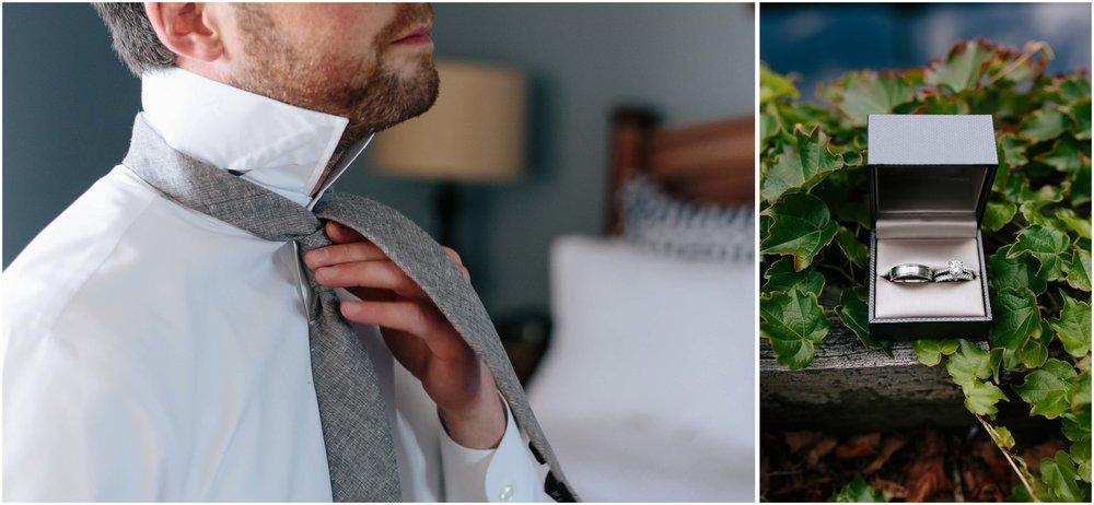 Nautical Massachusetts Jewish Wedding in the Boston Navy Yard groom tying his tie and rings