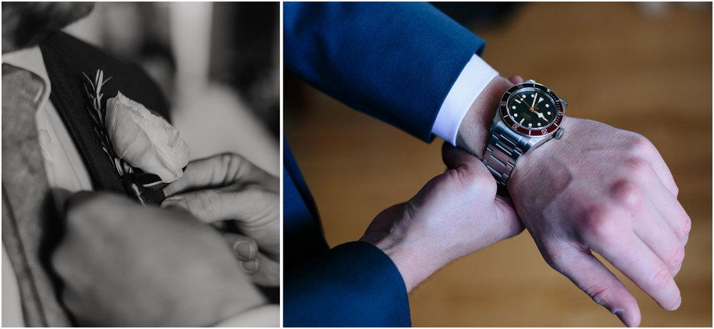 Nautical Massachusetts Jewish Wedding in the Boston Navy Yard groom's details like watch and tie
