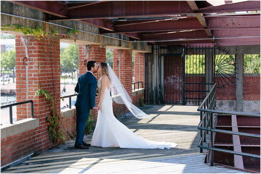 Nautical Massachusetts Jewish Wedding in the Boston Navy Yard bride and groom first look portraits