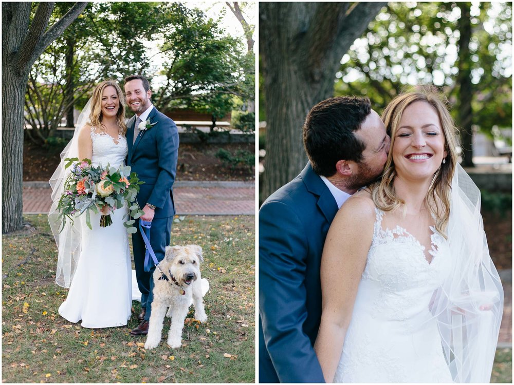 Nautical Massachusetts Jewish Wedding in the Boston Navy Yard bride and groom portraits with dog
