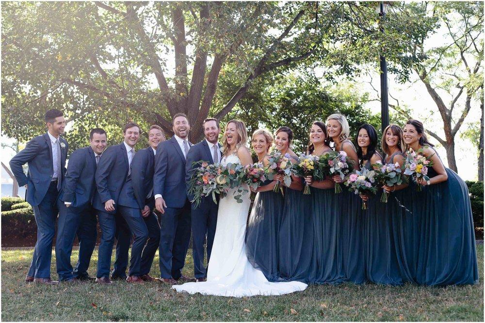 Nautical Massachusetts Jewish Wedding in the Boston Navy Yard bride, groom, wedding party, groomsmen, bridesmaids