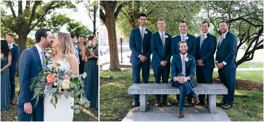 Nautical Massachusetts Jewish Wedding in the Boston Navy Yard bride, groom, wedding party, groomsmen