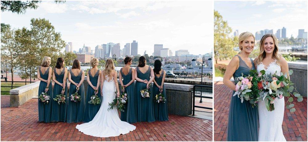 Nautical Massachusetts Jewish Wedding in the Boston Navy Yard bride and bridesmaids