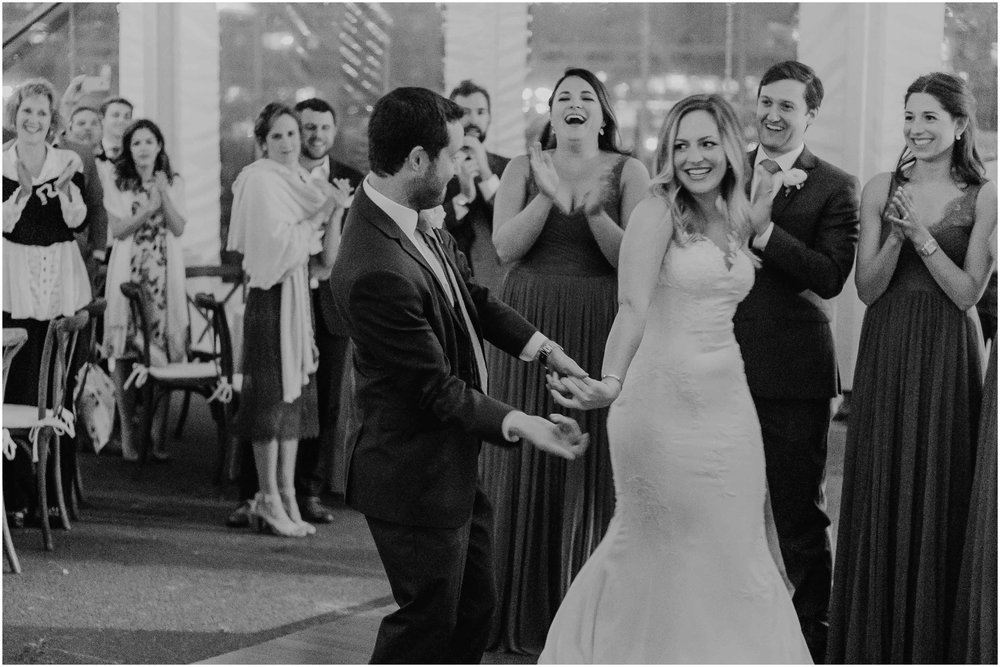 Nautical Massachusetts Jewish Wedding in the Boston Navy Yard reception dancing