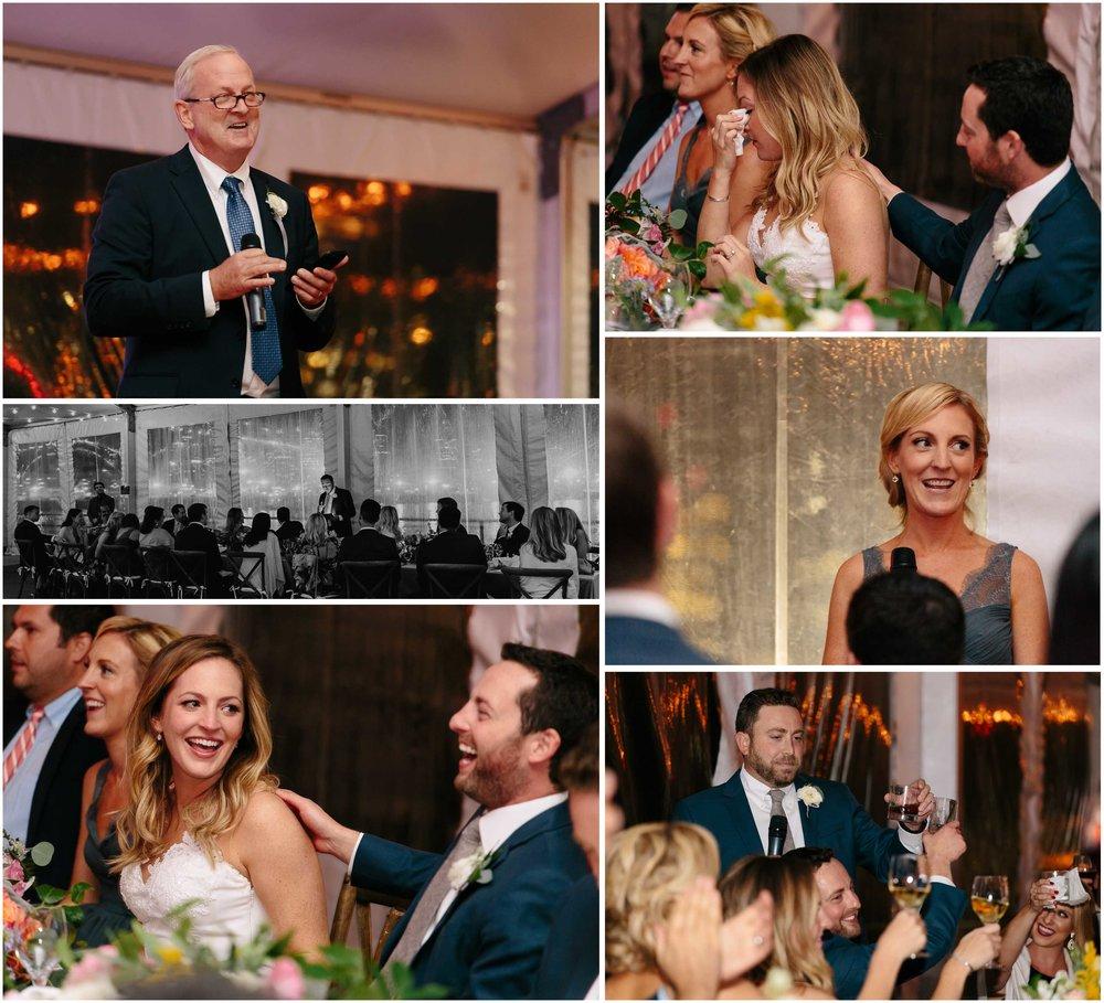 Nautical Massachusetts Jewish Wedding in the Boston Navy Yard reception toasts and speeches