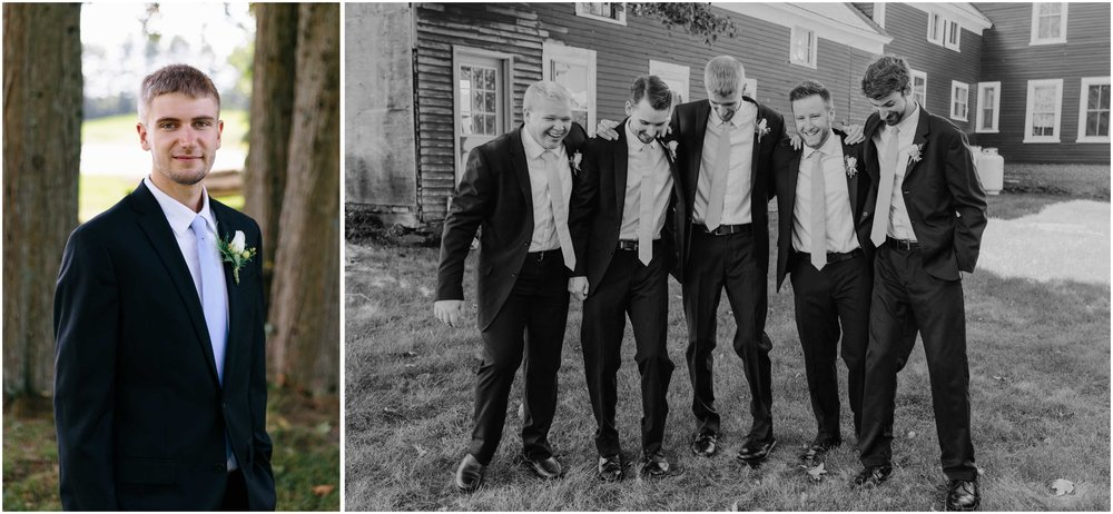 Cozy Country Church Wedding in Pepperell, Massachusetts groom and groomsmen