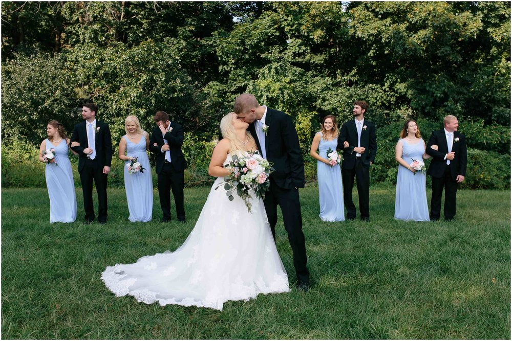 Cozy Country Church Wedding in Pepperell, Massachusetts bride and groom and wedding party
