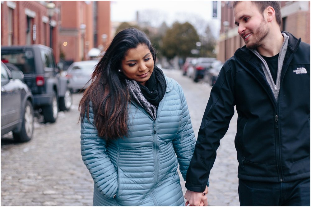 Warm and Wintry Engagement Session in Downtown Lowell, Massachusetts