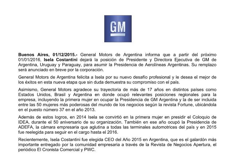 Así General Motors Argentina oficializó la salida de Isela Constantini.