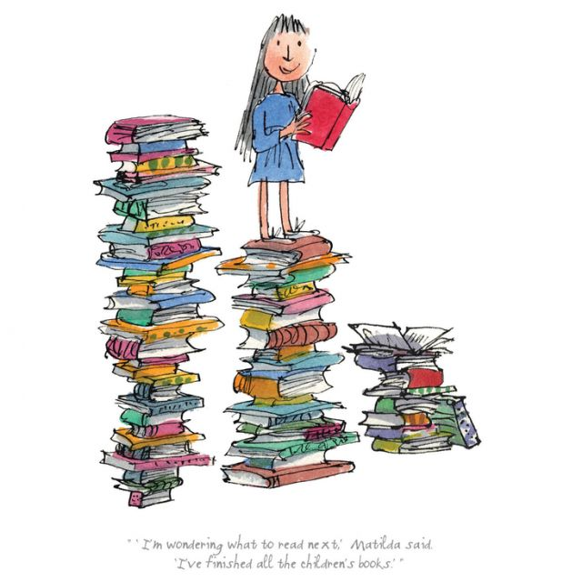 Matilda  by Roald Dahl, illustrated by Quentin Blake. Image found at bust.com