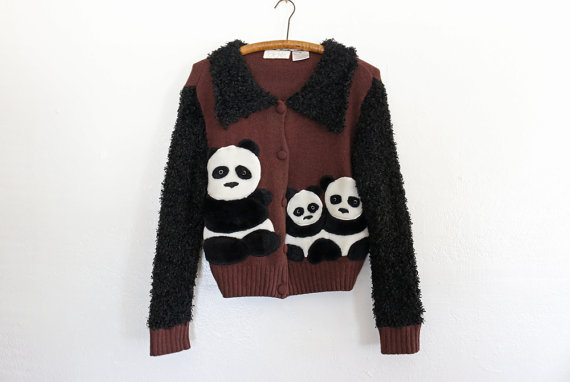 Brown Black Fluffy Panda Vintage Sweater