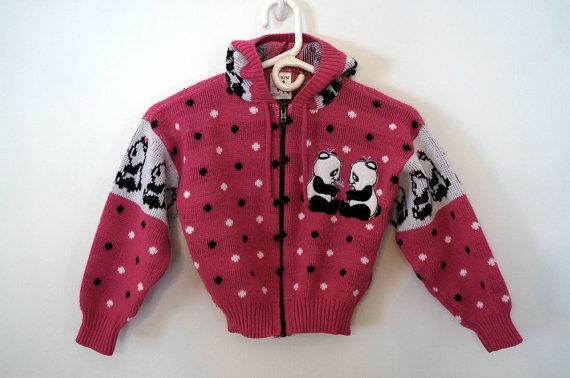 Vintage 1980s Girls Panda Sweater Hoodie