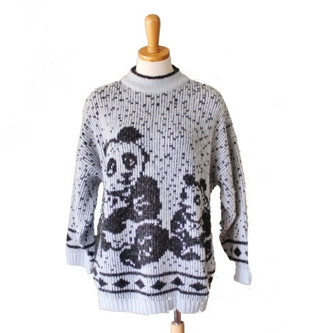 Grey Spotted Vintage Panda Sweater