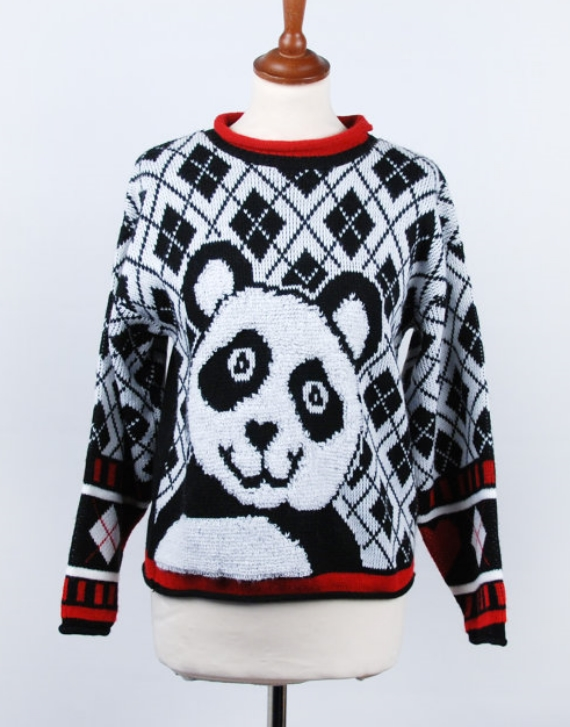 Plaid 1980s Vintage Panda Sweater