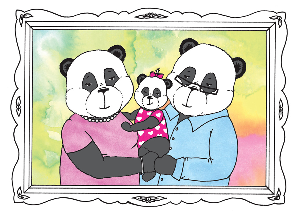A little panda family portrait for our book, inspired by a real photo of Mike, his wife and daughter!
