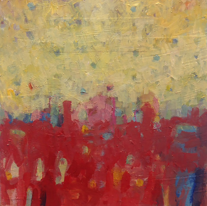 Judith Brassard Brown,  In the Red , 2015  Mixed media on board  8 x 8 x 2 in.  $850  Courtesy of Kingston Gallery in Boston, MA