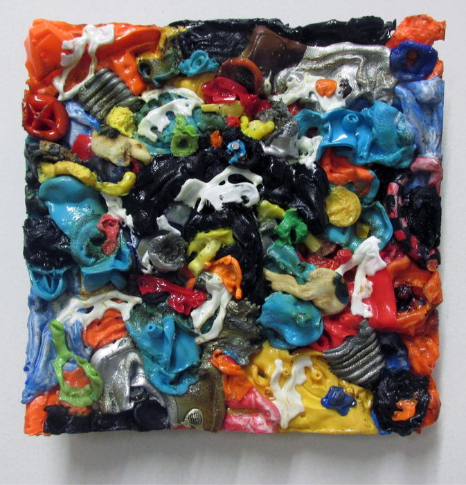 Patrick Craig,  Bat Flat , 2015  Re-purposed plastic  10 x 10 x 1 in.  $800   Funded in part by Univ of MA Grad School - Courtesy of Gallery planB