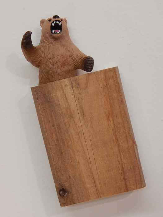 Kelsey Fernkopf,  Lumberjack Scream , 2015  Plastic bear, wood, vinyl  9 x 6 x 3 in.  $200