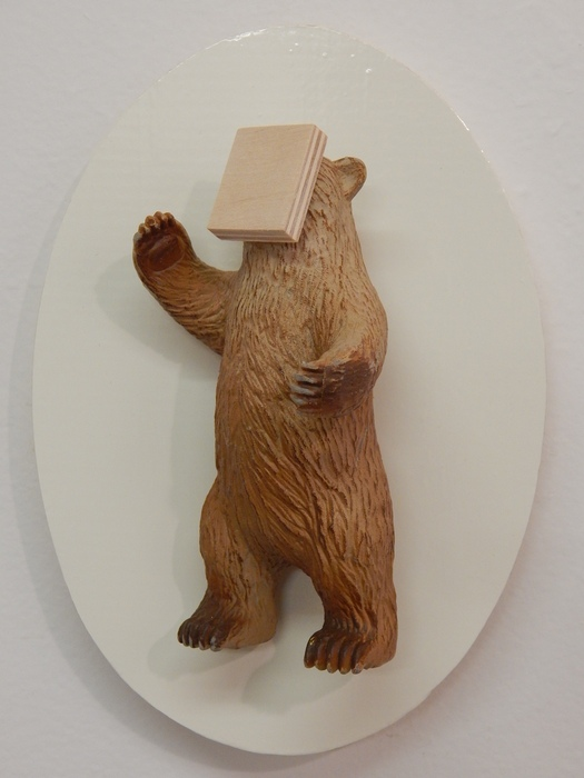 Kelsey Fernkopf, Pavarotti , 2015  Plastic bear, wood, vinyl  7 x 5 x 3 in.  $200