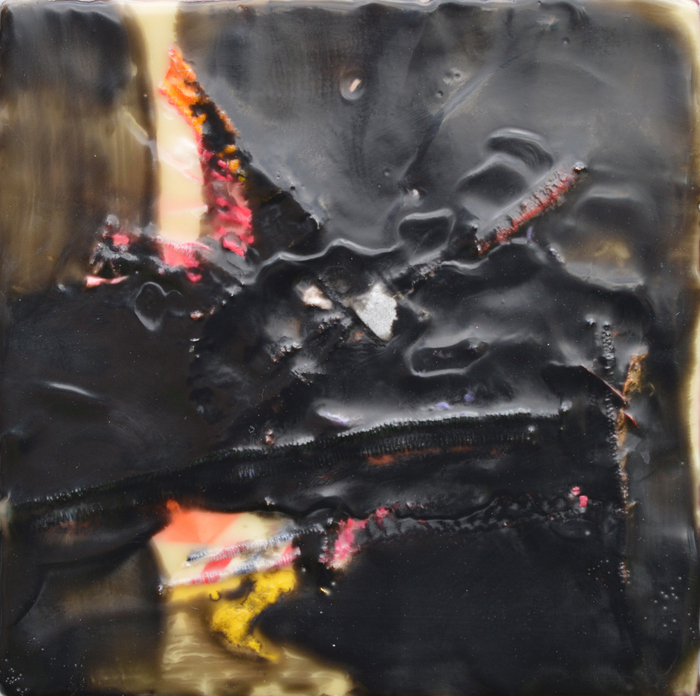 Wendy Franklund Miller,  Spill #1,  2013  Encaustic on wood  7 x 7 x 2.5 in.  $400  Courtesy of Augen Gallery, Portland, OR
