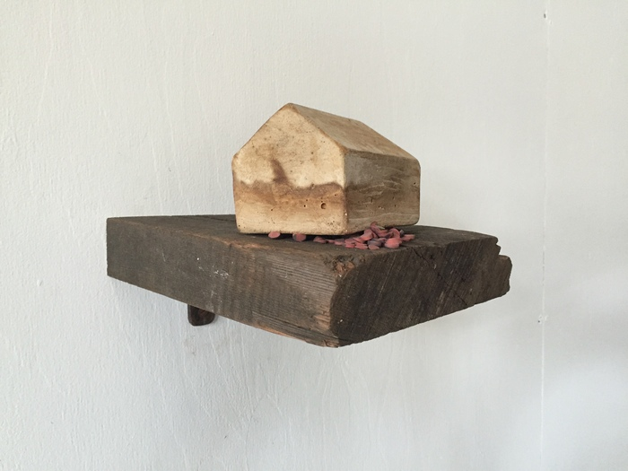 Helen Gamble,  Found Land,  2015  Wood, fix-all, erasers  7 x 9 x 9 in.  $800