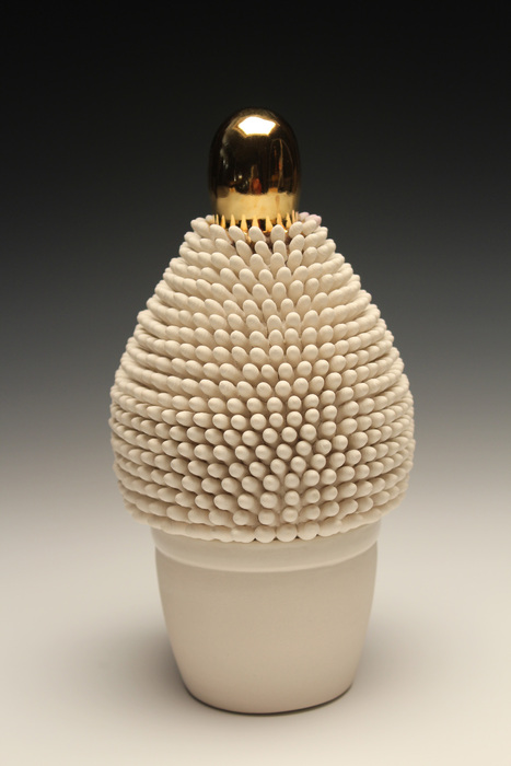 Ron Geibel,  Golden , 2014  Porcelain, gold luster, wood  8 x 4 x 4 in  $1,100