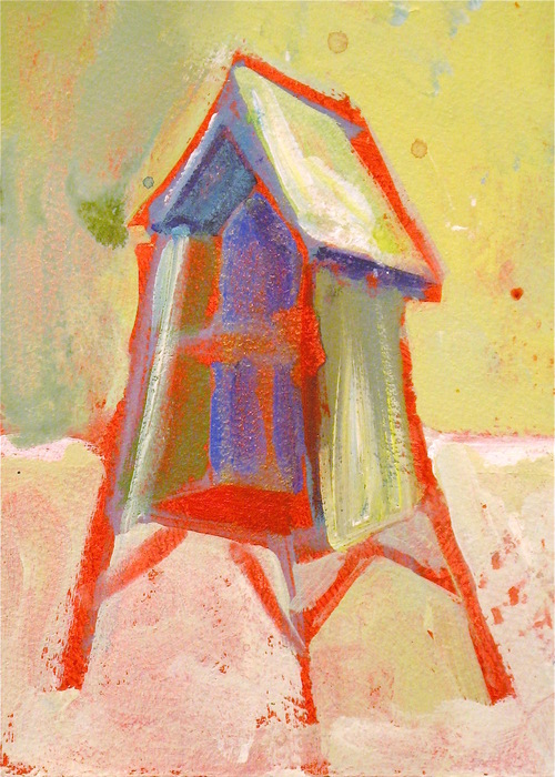 Karen Gjelsteen,  Treehouse , 2013  Acrylic on paper  8 x 6 in.  $150