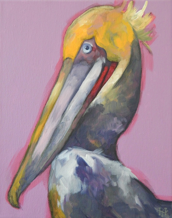 Hallie Harris,  Pelican , 2015  Acrylic on canvas  10 x 8 in  $375