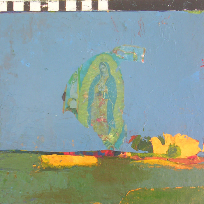 P. Hanson,  Visitation , 2013  Acrylic, collage on panel  10 x 10 x 1.75 in.  $350