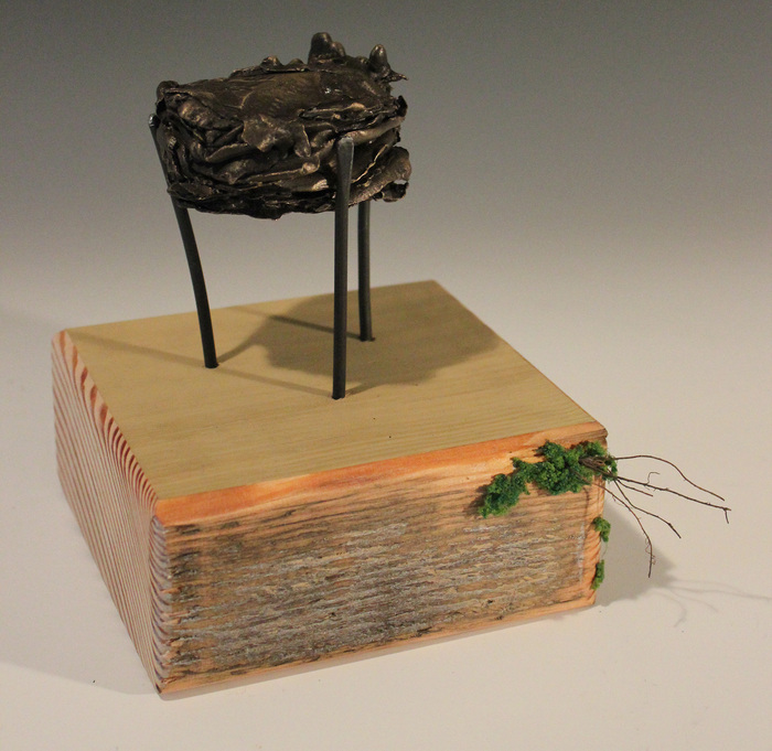 Eleanor Heimbaugh,  Specimen Number 05222015 , 2015  Bronze, steel, and wood  5 x 5 x 3 in.  $750