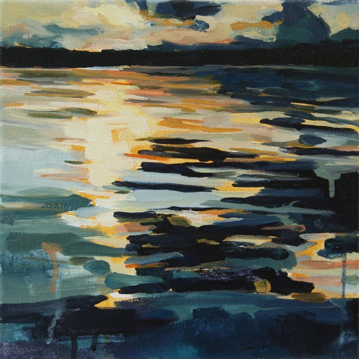 Kelly Johnston,  Collide , 2015  Water soluble oil on canvas  10 x 10 x 1.5 in.  $150
