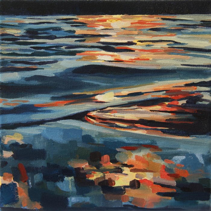 Kelly Johnston,  Skip , 2015  Water soluble oil on canvas  10 x 10 x 1.5 in.  $150